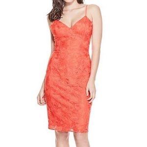 Guess Lace V-Neck Bodycon Cami Midi Dress Sz 8